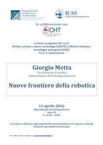 Locandina Lezione congiunta Nuove Frontiere Della Robotica